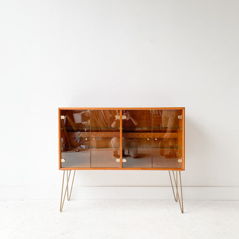 Teak Curio Cabinet with Glass Doors/Shelving