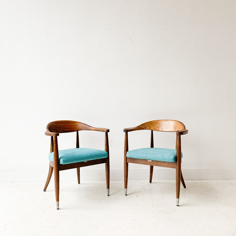 Pair of Mid Century Occasional Chairs with New Light Blue Upholstery