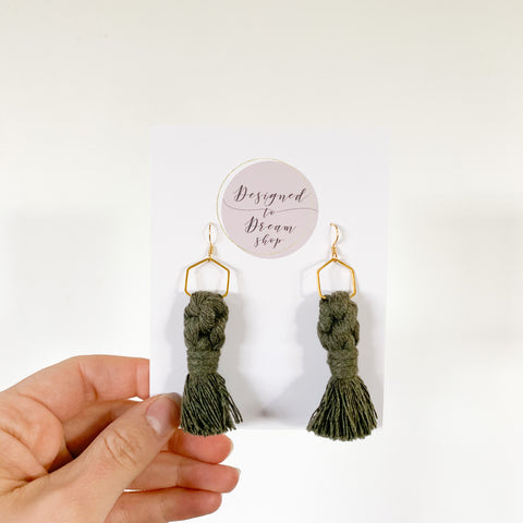 Macrame Earrings - Army Green