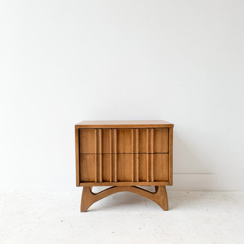 Mid Century Modern Sculpted Front Nightstand