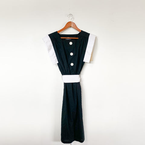 1980s Black & White Dress - S