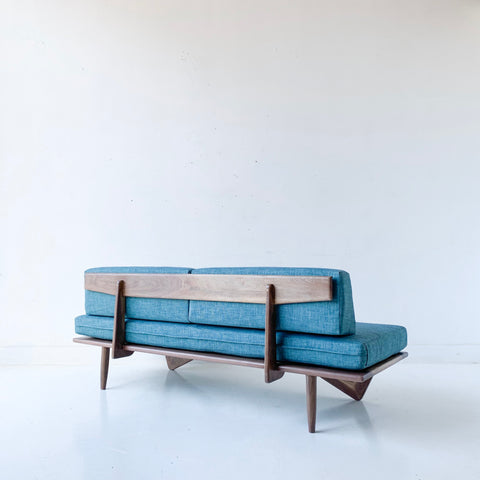 Black Walnut Platform Sofa with Teal Upholstery by atomic
