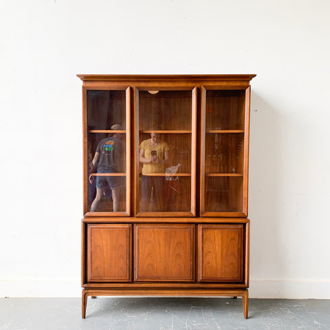 Mid Century Modern Walnut Hutch (one piece)