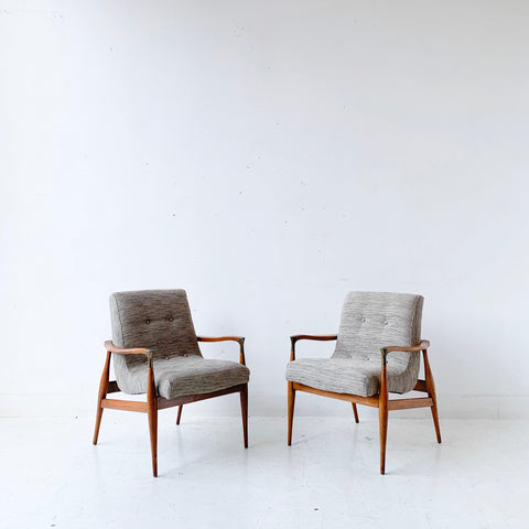 Pair of Mid Century Modern Scoop Chairs with New Grey/Beige Upholstery