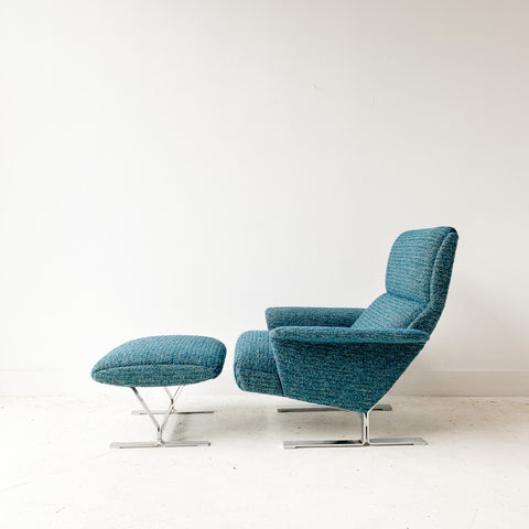 Space Age Lounge Chair and Ottoman with New Upholstery