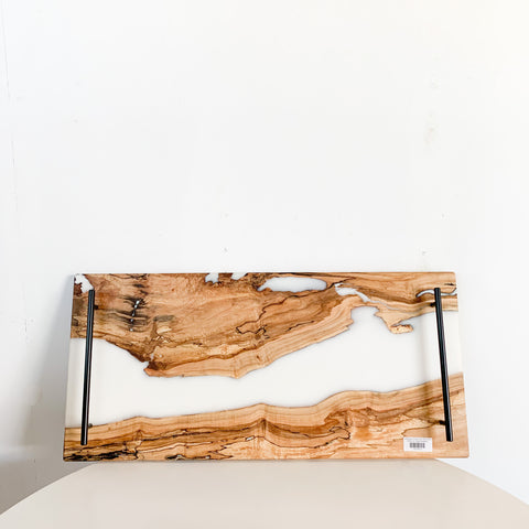 Spalted Maple Serving Tray w/ White Epoxy