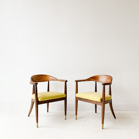 Pair of Mid Century Occasional Chairs with New Chartreuse Upholstery