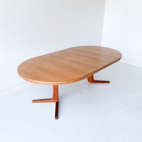 Oluf Th. Larsen Danish Teak Round Dining Table with 2 Leaves