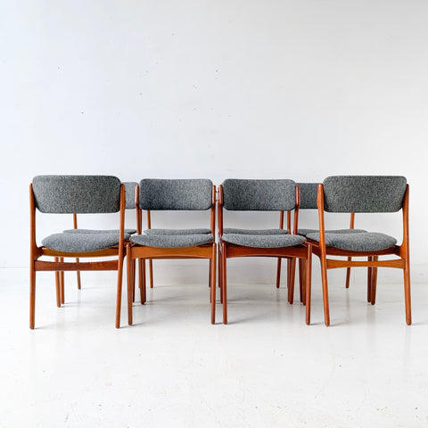 Set of 8 Mid Century Modern Erik Buch Dining Chairs with New Upholstery