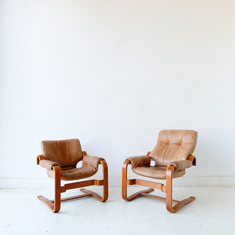Pair of Vintage Leather Lounge Chairs
