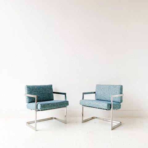 Pair of Mid Century Modern Chrome Lounge Chairs with New Upholstery