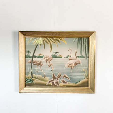 Turner Print on Canvas- Flamingos