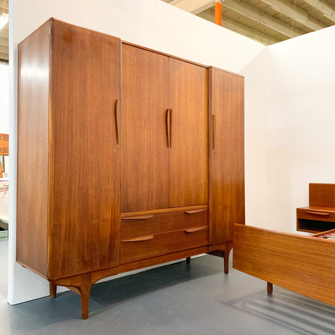 Teak Armoire with Sculpted Pulls - made in France by Ameublement NF