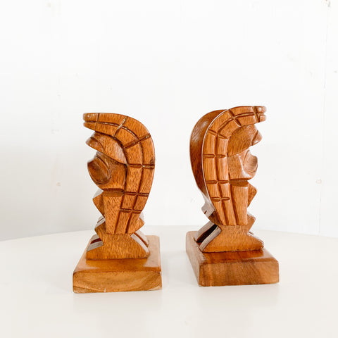 Pair of Hand Carved Tiki Bookends