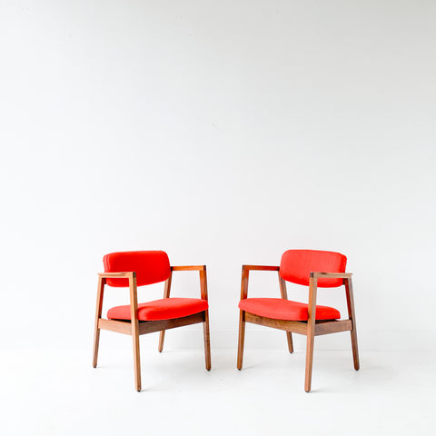 Pair of Occasional Chairs - Orange/Red