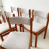 Set of 6 Danish Teak Dining Chairs with New Upholstery by GM Mobler