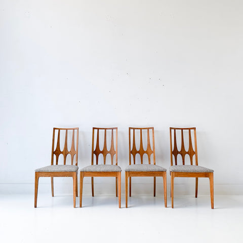 Set of 4 Mid Century Broyhill Brasilia Dining Chairs with New Upholstery