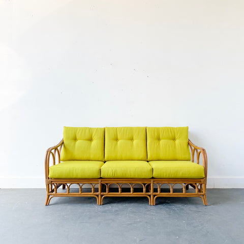 Mid Century Modern Rattan Sofa with New Upholstery