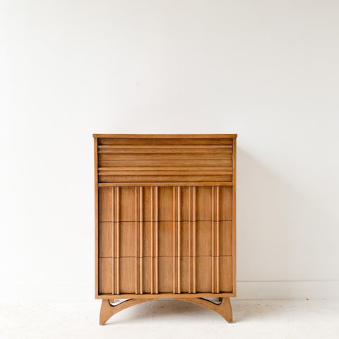 Mid Century Sculpted Front Highboy Dresser