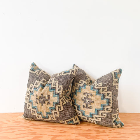 "Pair of 20"" Black/ Teal/ Tan Jute Pillows"