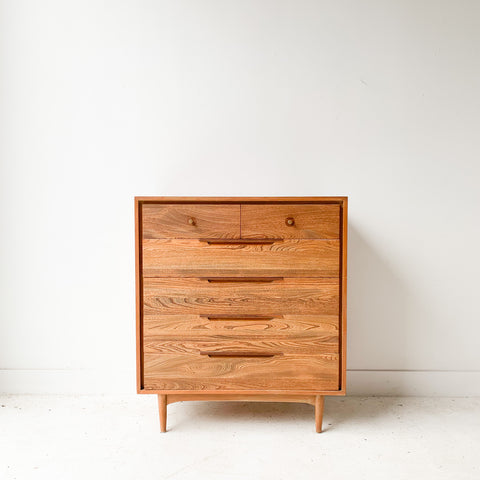 Mid Century Solid Wood Highboy Dresser