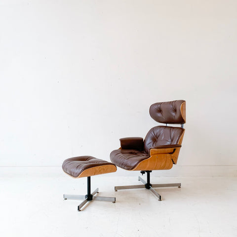 Mid Century Modern Plycraft Chair and Ottoman with Original Chocolate Leather