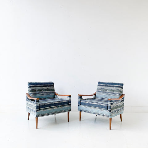 Pair of Mid Century Lounge Chairs with New Indigo Striped Upholstery