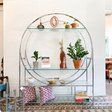 Vintage Chrome and Glass Round Etagere