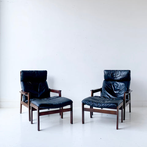 Pair of Mid Century Westnofa Recliners with Ottomans