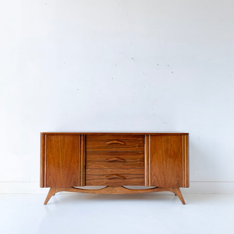 Mid Century Modern Sculpted Front Walnut Sideboard