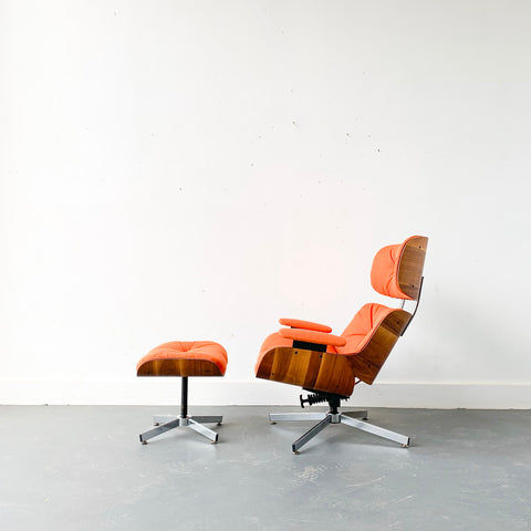 Mid Century Eames Style Lounge Chair and Ottoman with New Upholstery