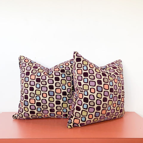 "Pair of ""Atomic"" Square Pillows"