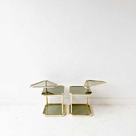 Pair of Vintage Glass and Brass End Tables with Swivel Tops