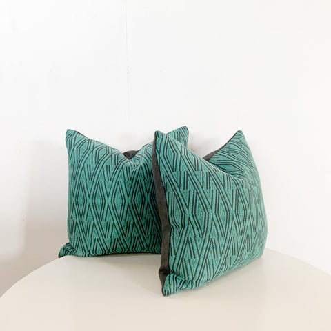 "Pair of 20"" Teal Woven Pillows"