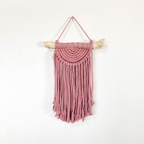 Handmade Macrame Half Circle Wall Hanging - Dusty Pink