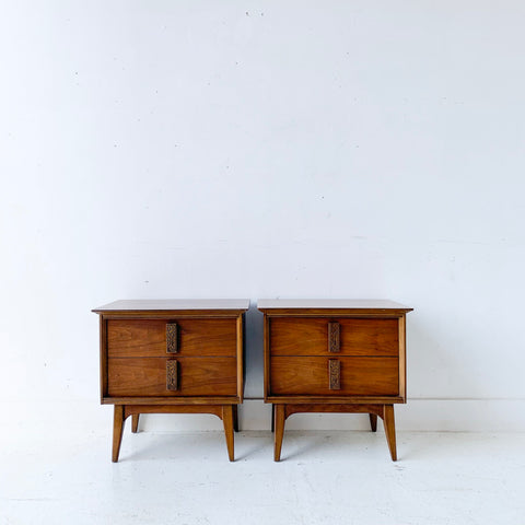 "Pair of Mid Century Modern ""Mayan"" Nightstands by Bassett"