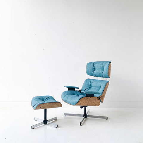 Mid Century Modern Plycraft Lounge Chair and Ottoman with New Teal Upholstery