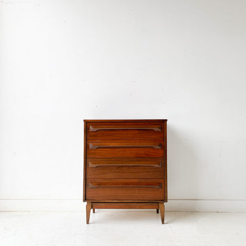 Mid Century Modern Sculpted Front Highboy Dresser