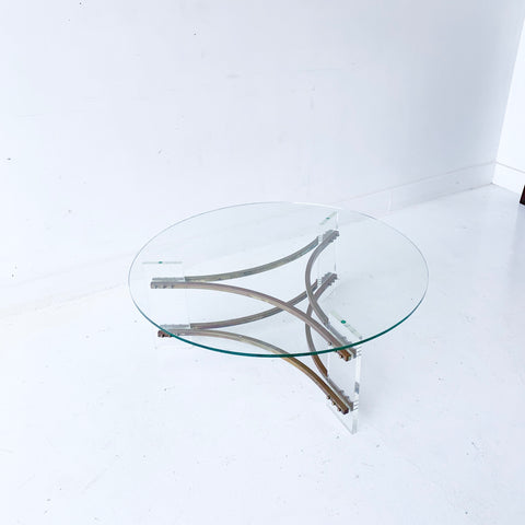 Vintage Lucite and Brass Glass Top Coffee Table