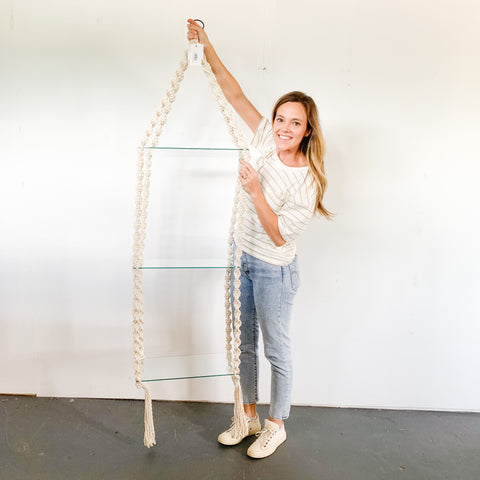 Handmade Macrame Hanging Glass Shelf