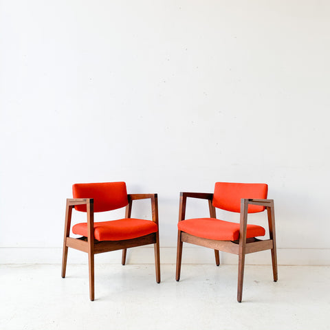 Pair of Mid Century Modern Gunlocke Occasional Chairs with New Orange Upholstery