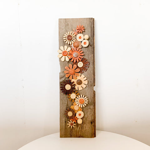 Handmade pottery Flowers & Recyled Wood Wall Hanging