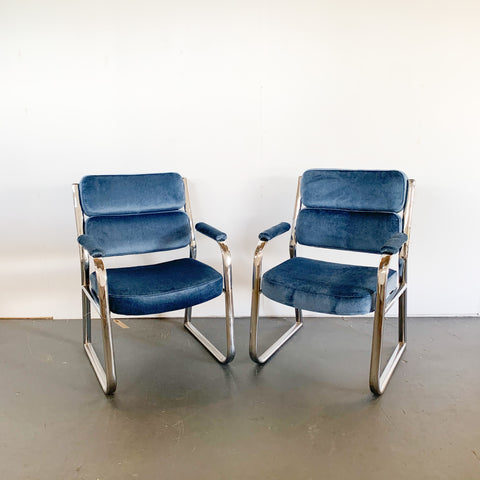 Pair of Vintage Chrome Chairs With New Velvet Upholstery