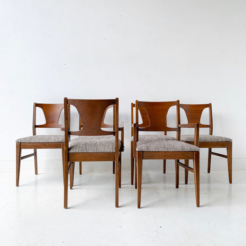 Set of 6 Mid Century Modern Broyhill Dining Chairs with New Upholstery