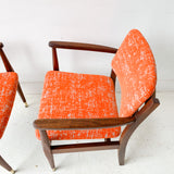 Pair of Mid Century Occasional Chairs with New Orange Upholstery