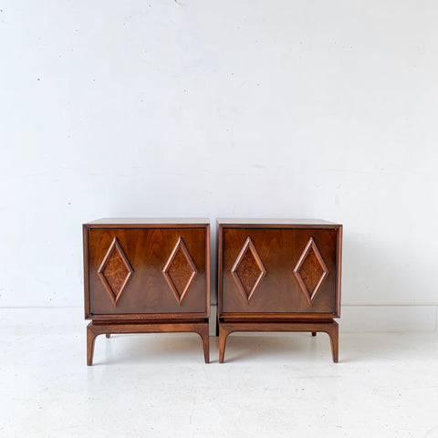 Pair of Mid Century Diamond Front Nightstands