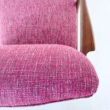 Mid Century Modern Occasional Chair with New Purple Tweed Upholstery
