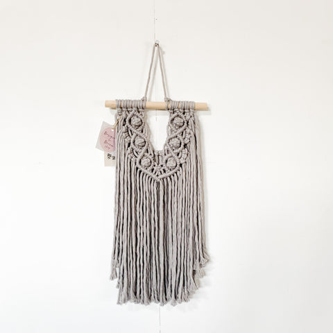 Handmade Macrame Small Wall Hanging - Gray