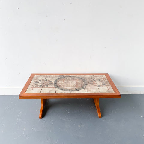 Danish Teak Mosaic Tile Top Coffee Table