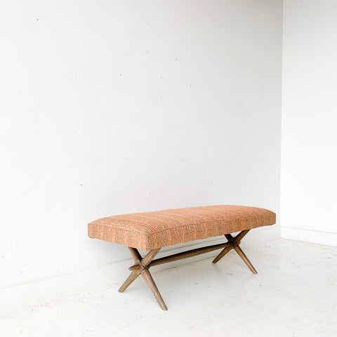 Mid Century Bench with New Orange Upholstery